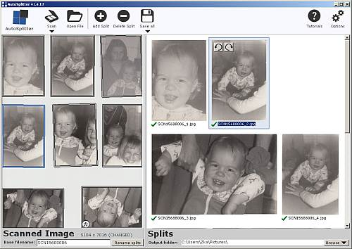 AutoSplitter: Multiple photo scanning software